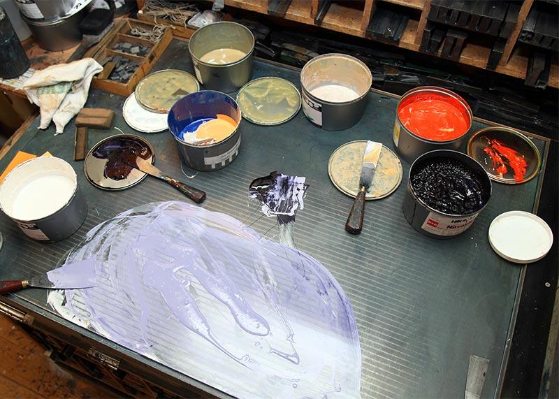 Farbe anmischen - Buchdruckkunst